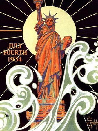 """""""Statue of Liberty,""""July 7, 1934 by Joseph Christian Leyendecker"""