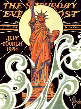 """""""Statue of Liberty,"""" Saturday Evening Post Cover, July 7, 1934 by Joseph Christian Leyendecker"""