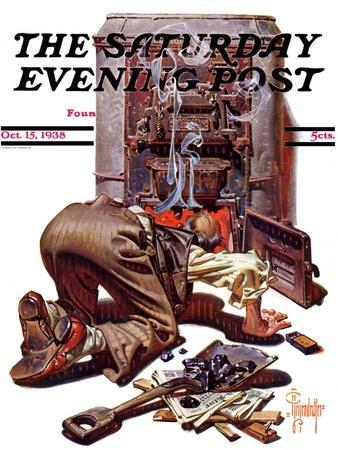 """""""Stoking the Furnace,"""" Saturday Evening Post Cover, October 15, 1938"""