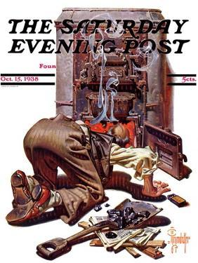 """""""Stoking the Furnace,"""" Saturday Evening Post Cover, October 15, 1938 by Joseph Christian Leyendecker"""