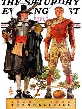 """Thanksgiving, 1628/1928,"" Saturday Evening Post Cover, November 24, 1928 by Joseph Christian Leyendecker"