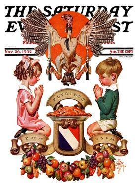 """Thanksgiving Crest,"" Saturday Evening Post Cover, November 26, 1932 by Joseph Christian Leyendecker"