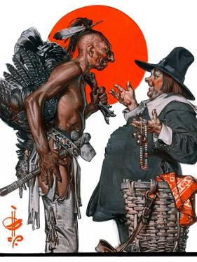 """Trading for a Turkey,""December 1, 1923 by Joseph Christian Leyendecker"