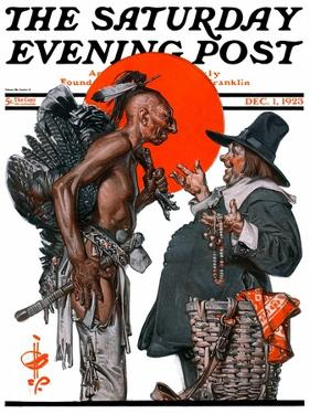 """""""Trading for a Turkey,"""" Saturday Evening Post Cover, December 1, 1923 by Joseph Christian Leyendecker"""