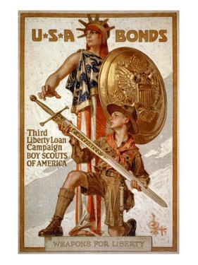 U*S*A Bonds, Third Liberty Loan Campaign, Boy Scouts of America Weapons for Liberty by Joseph Christian Leyendecker
