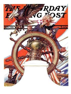 """Uncle Sam at the Helm,"" Saturday Evening Post Cover, July 4, 1936 by Joseph Christian Leyendecker"