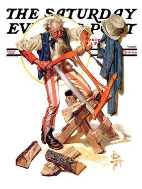 """""""Uncle Sam Sawing Wood,"""" Saturday Evening Post Cover, July 2, 1932 by Joseph Christian Leyendecker"""