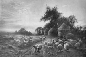 'Sheep Feeding', c1890, (1911) by Joseph Farquharson