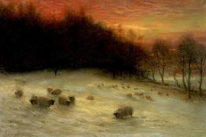 Sheep in a Winter Landscape, Evening by Joseph Farquharson