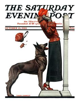 """Tipping the Scales,"" Saturday Evening Post Cover, October 13, 1923 by Joseph Farrelly"