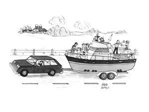 A boat filled with people drinking & laughing is being towed through the c… - New Yorker Cartoon by Joseph Farris