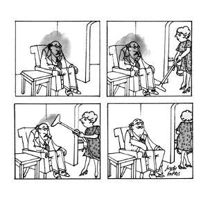A man is sitting in a chair with a dark cloud over and around his head; hi… - New Yorker Cartoon by Joseph Farris