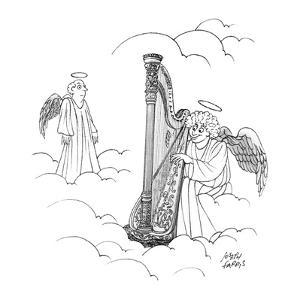 Harpo Marx, as an angel, plays a harp in heaven as another angel looks on. - New Yorker Cartoon by Joseph Farris