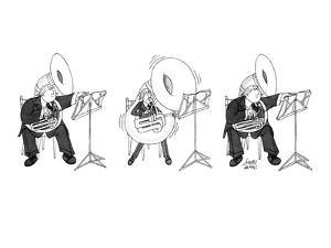 Large tuba player inflates his instrument and gets smaller when he plays. - New Yorker Cartoon by Joseph Farris