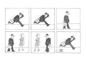 Man running to work because he is late takes time to stop and look at a wo… - New Yorker Cartoon by Joseph Farris