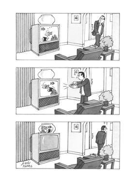 Man switches channel on television to make swimming fish go from the set i… - New Yorker Cartoon by Joseph Farris