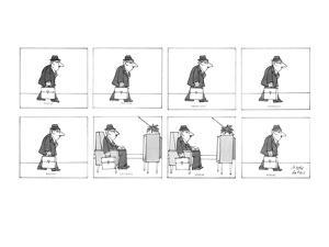 Man walks with his briefcase in his hand and sits down in a reclining chai? - New Yorker Cartoon by Joseph Farris