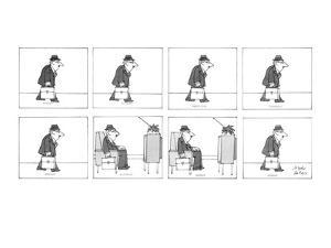 Man walks with his briefcase in his hand and sits down in a reclining chai… - New Yorker Cartoon by Joseph Farris
