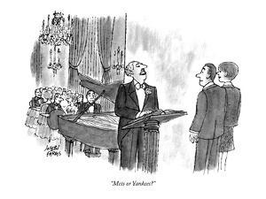 """Mets or Yankees?"" - New Yorker Cartoon by Joseph Farris"