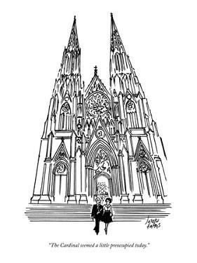 """The Cardinal seemed a little preoccupied today."" - New Yorker Cartoon by Joseph Farris"