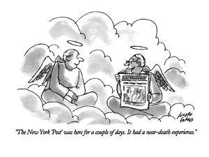 """""""The New York 'Post' was here for a couple of days. It had a near-death ex?"""" - New Yorker Cartoon by Joseph Farris"""