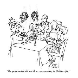 """The specials marked with asterisks are recommended by the Christian right…"" - New Yorker Cartoon by Joseph Farris"