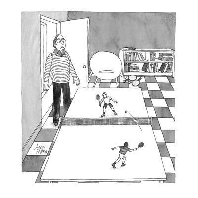 Tiny tennis players on ping pong table. - Cartoon