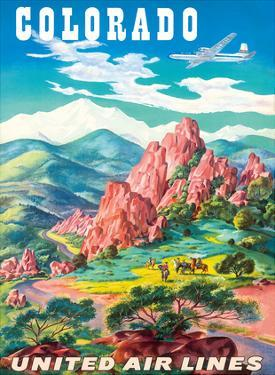 Colorado - United Air Lines - Garden of the Gods, Colorado Springs by Joseph Feher