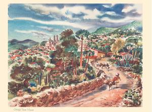 Colorful Taxco, Mexico - United Air Lines Calendar Page by Joseph Fehér