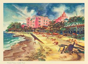 Hawaiis Famous Waikiki Beach - United Air Lines by Joseph Fehér