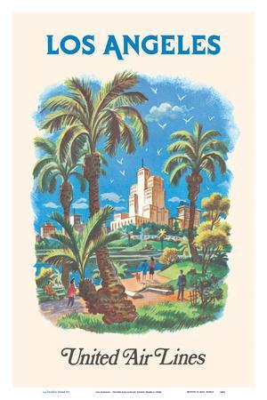 Los Angeles, California - MacArthur Park Lake - United Air Lines