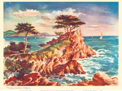 Monterey Coastline, California - United Air Lines Calendar Page by Joseph Fehér