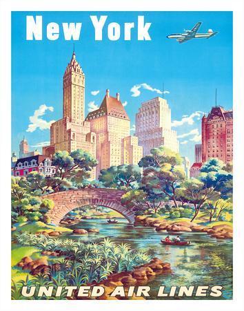 New York - United Air Lines - Gapstow Bridge at Central Park South Pond, Manhattan