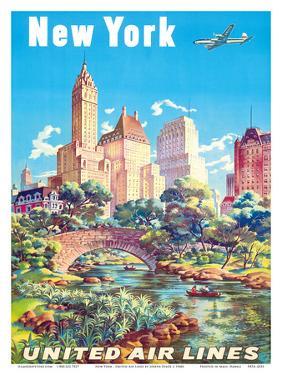 New York - United Air Lines - Gapstow Bridge at Central Park South Pond, Manhattan by Joseph Feher