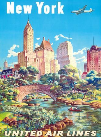 New York - United Air Lines - Gapstow Bridge at Central Park South Pond, Manhattan by Joseph Feher