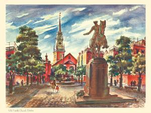 Old North Church - Boston, Massachusetts - United Airlines Calendar Page by Joseph Fehér