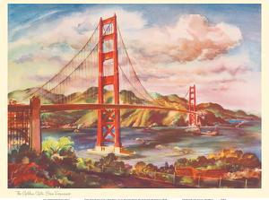 The Golden Gate Bridge, San Francisco - United Air Lines Calendar Page by Joseph Fehér