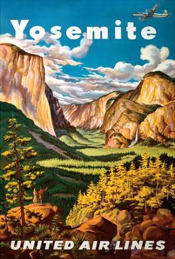 Yosemite - United Air Lines - Yosemite Falls and Yosemite National Park by Joseph Fehér