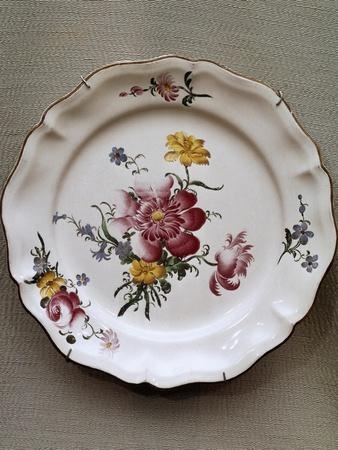 Dish with Floral Motifs, Ceramic, Strasbourg Manufacture, France