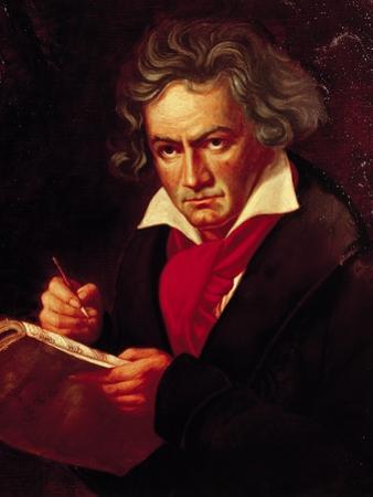 """Ludwig Van Beethoven (1770-1827) Composing His """"Missa Solemnis"""" by Joseph Karl Stieler"""