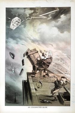An Unexpected Blow, 1880 by Joseph Keppler