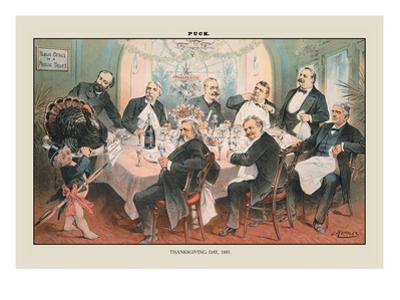 Puck Magazine: Thanksgiving Day, 1885 by Joseph Keppler