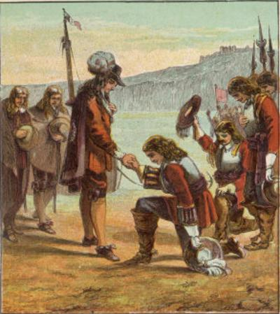 Charles II Lands at Dover and is Saluted as King of England by General Monk Who Kneels Before Him by Joseph Kronheim