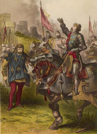 Henry V, Act IV Scene I: Henry V Victorious after the Battle of Agincourt by Joseph Kronheim