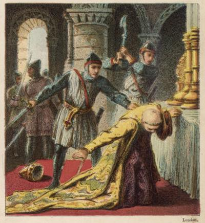 Thomas a Becket Archbishop of Canterbury is Murdered is His Own Cathedral by Knights by Joseph Kronheim