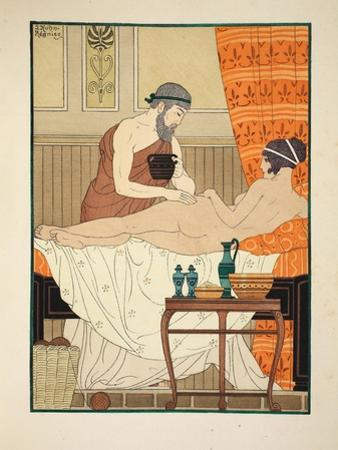 Application of White Egyptian Perfume to the Hip, Illustration from 'The Works of Hippocrates' 1934 by Joseph Kuhn-Regnier