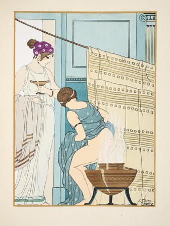 Woman Sitting on a Large Pot, Illustration from 'The Works of Hippocrates', 1934 (Colour Litho) by Joseph Kuhn-Regnier