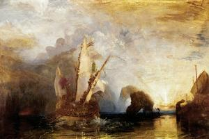 Ulysses flees with his companions, while Polyphem throws rocks at their ships without hitting them. by Joseph Mallord William Turner