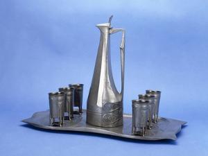 An Edelzinn Eight Piece Pewter Liquor Set, 1865 by Joseph Maria Olbrich