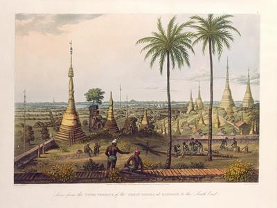 Scene from the Upper Terrace of the Great Pagoda at Rangoon, to the South East, Engraved by H.…